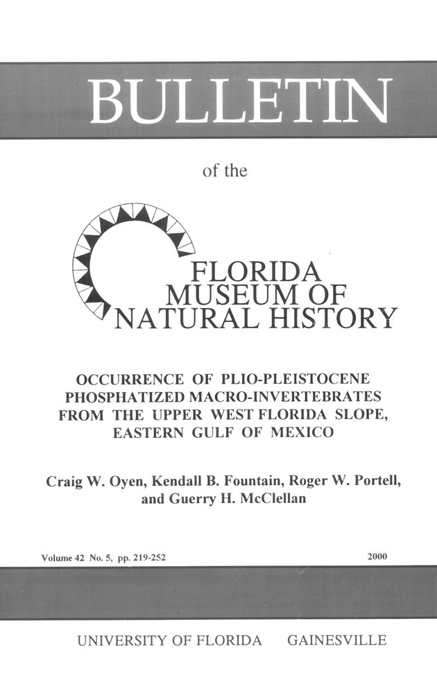 Occurrence of plio-pleistocene phosphatized macro-invertebrates from the upper west Florida slope, eastern Gulf of Mexico - Front Cover