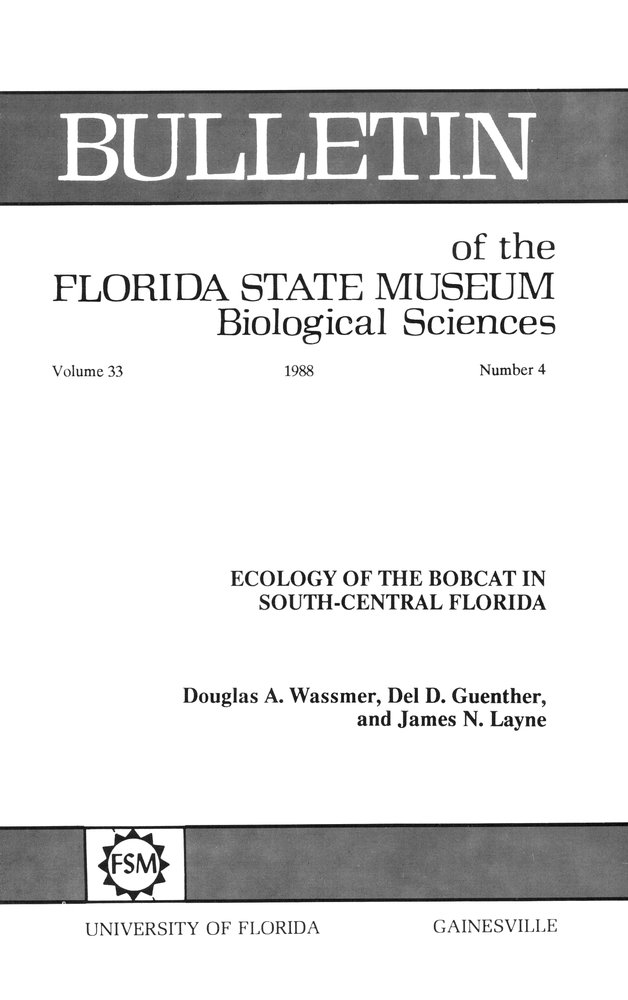 Ecology of the bobcat in South-central Florida - Front Cover