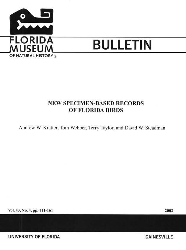 New specimen-based records of Florida birds - Front Cover