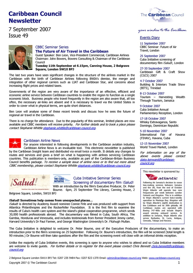 Caribbean Council newsletter - Page 1