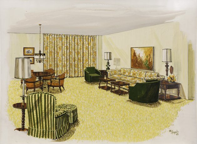 Design for the living room (Scheme 1) of the Breakers Hotel, Palm Beach, Florida