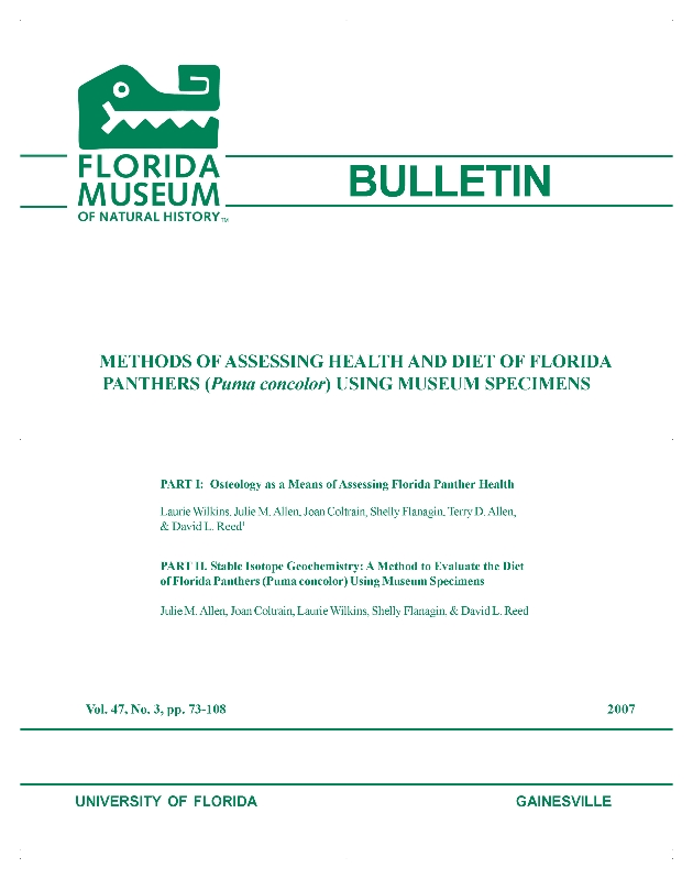 Methods of assessing health and diet of Florida panthers (Puma concolor) using museum specimens / - Front Cover