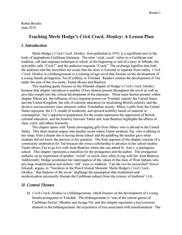 Teaching Merle Hodge's Crick Crack, Monkey: A Lesson Plan - Page 1