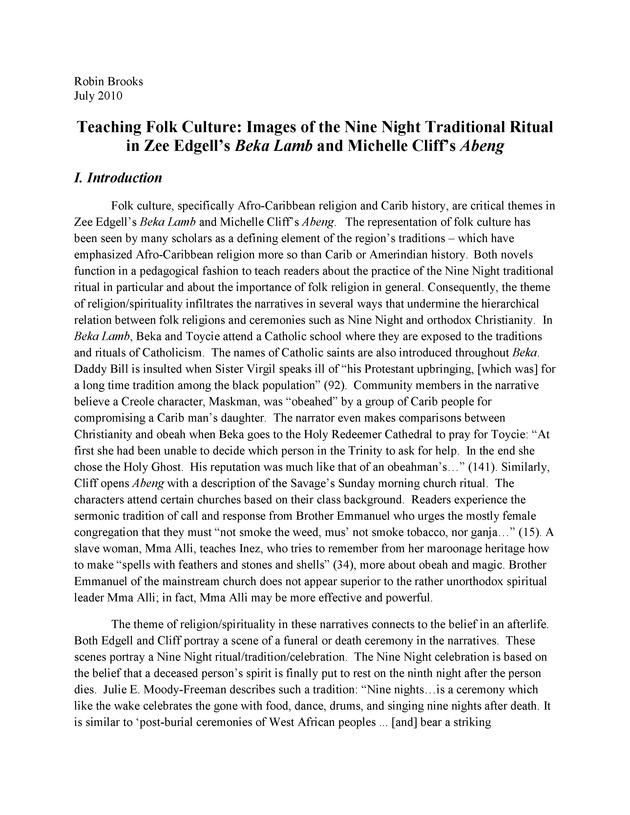 Teaching Folk Culture: Images of the Nine Night Traditional Ritual in Zee Edgell's Beka Lamb and Michelle Cliff's Abeng - Page 1