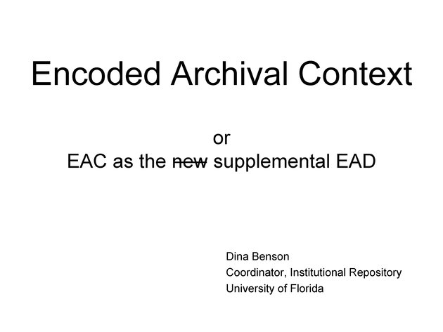 Encoded Archival Context presentation slides - Page 1