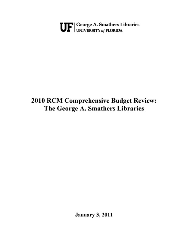 2010 RCM Comprehensive Budget Review: The George A. Smathers Libraries - Cover