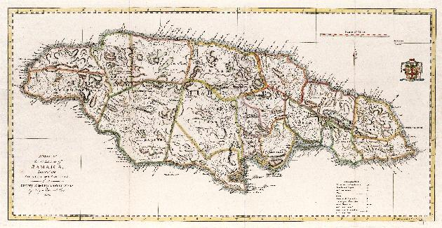 A Map of the island of Jamaica divided into counties and parishes ...