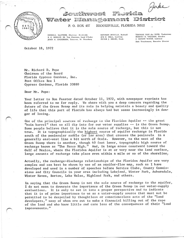 Letter From Garald Parker to Richard Pope Re: Recharge of the Florida Aquifer - Page 1