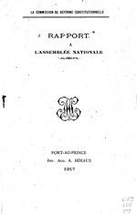 Rapport a l'Assemblee a la Commission de reforme Constitutionnelle, (2)+19p, 8vo.