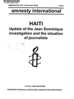 Haiti : update of the Jean Dominique investigation and the situation of journalists / Amnesty International.