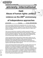 Haiti: Abuse of human rights: political violence as the 200th anniversary of independence approaches