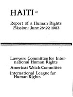 Haiti, report of a human rights mission, June 26-29, 1983