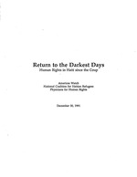 Return to the darkest days : human rights in Haiti since the coup / Americas Watch, National Coalition for Haitian Refugees, Physicians for Human Rights