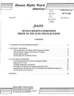 Haiti : human rights conditions prior to the June 1995 elections / Human Rights Watch/Americas.