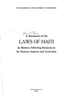A statement of the laws of Haiti in matters affecting business in its various aspects and activities, (4)+iii+34p,