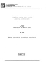 Violations of human rights in Haiti, June 1981-September 1982 : a report to the Organization of American States / by the Lawyers Committee for International Human Rights