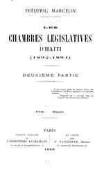 Chambres Législatives d'Haïti (1892-1894). Deuxième Partie.