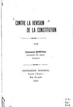 Contre la révision de la constitution, by Emmanuel Morpeau, 42p,