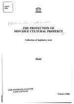 The protection of movable cultural property, coll. Of legislative texts, scan V. 21, Haiati, only