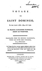 Voyange to Saint Domingo in the yrs. 1788, 1789 & 1790 by Baron Wimpffen, transla. from orig. by J. Wright, London, 1817. (BCL-Williams Mem.Eth.Col.Cat. #639)
