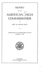 Annual report of the American High Commissioner at Port au Prince, Haiti to the Secretary of State