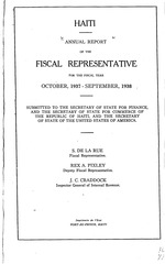 Haiti. Bureau de représentant fiscal; Annual report of the fiscal representative for the fiscal year ….: publ., 18th, 1933.34 to 24th, 1939-40; 7 vols.,