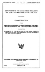 Deployment of U.S. naval forces regarding the petroleum and arms embargo of Haiti