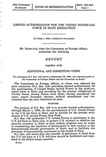 Limited authorization for the United States-led force in Haiti resolution : report together with additional and dissenting views (to accompany H.J. Res. 416 … referred jointly to the Hse. Coms. Rules & For. Af.