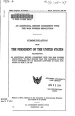 An additional report consistent with the War Powers Resolution