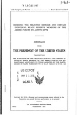 Pres. Message: Order activating ready reserve for Haiti emergency relief, 3p,