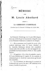 Mémoire pour M. Louis Aboilard, présenté à la Commission d'arbitrage constituée par le Protocole d'arbitrage du 15 juin 1904