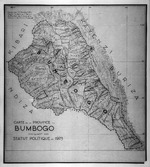 Carte de la Province du Bumbogo indiquant son statut politique en 1929. Dressee par J. M. Derscheid DrSc d'apres la carte au 1:100,000e du Ministere des Colonies et les indications de Monsieur R. Schmidt.