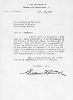 Letter to Sigismond Diettrich from Wallace W. Atwood, president of Clark University, April 24, 1935