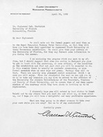 Letter to Sigismond Diettrich from Wallace W. Atwood, president of Clark University, April 30, 1935
