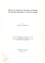 Effect of selected training methods on selling efficiency in retail stores