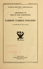 Amendment to code of fair competition for the narrow fabrics industry