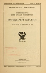 Amendment to code of fair competition for the powder puff industry