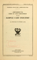 Amendment to code of fair competition for the sample card industry