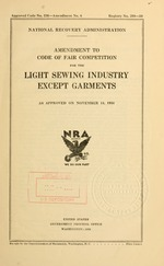 Amendment to code of fair competition for the light sewing industry except garments