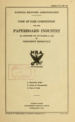 Code of fair competition for the paperboard industry