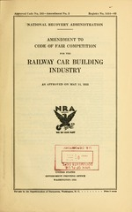 Amendment to Code of fair competition for the railway car building industry as approved on May 11, 1935