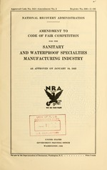 Amendment to code of fair competition for the sanitary and waterproof specialties manufacturing industry as approved on January 18, 1935