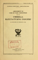 Amendment to Code of fair competition for the umbrella manufacturing industry
