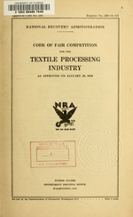 Code of fair competition for the textile processing industry