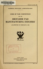 Code of fair competition for the shoulder pad manufacturing industry