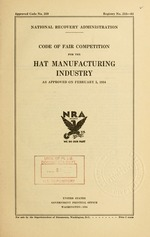 Code of fair competition for the hat manufacturing industry