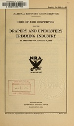 Code of fair competition for the drapery and upholstery trimming industry