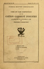 Code of fair competition for the cotton garment industry
