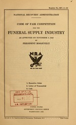 Code of fair competition for the funeral supply industry