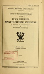 Code of fair competition for the rock crusher manufacturing industry